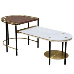 Frame Coffee Table, Contemporary Handmade Brass and Marble Coffee Table