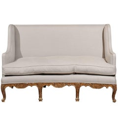 French Rococo Revival 1850s Giltwood Upholstered Winged Canapé with Shell Motifs