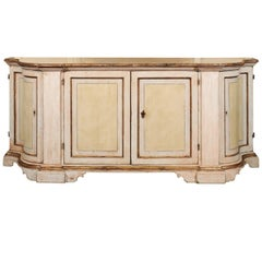 Florentine 1850s Painted Credenza with Silver Gilt Trim and Serpentine Sides