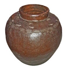 Glazed Clay Jar from India