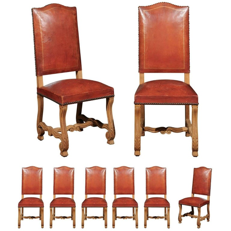 Set of Eight French Louis XIII Style Os De Mouton Leather Dining Chairs, 1900s