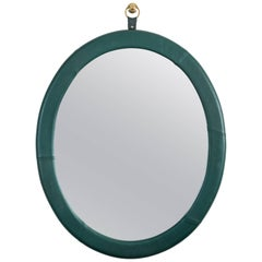 Oval Leather Mirror by Jason Koharik for Collected by for Lawson-Fenning