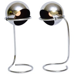Exciting 1960s Space Age Articulated Chrome Ball Table Lamps