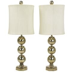 Pair of Stacked Brass Ball Table Lamps