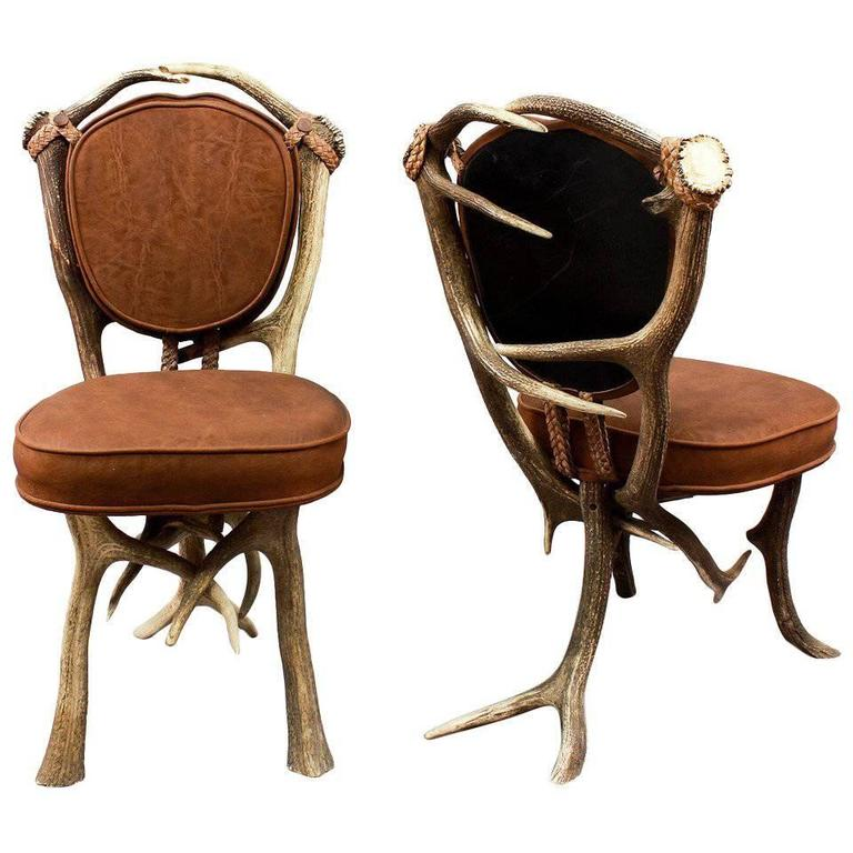 Pair of Vintage Black Forest Antler Chairs