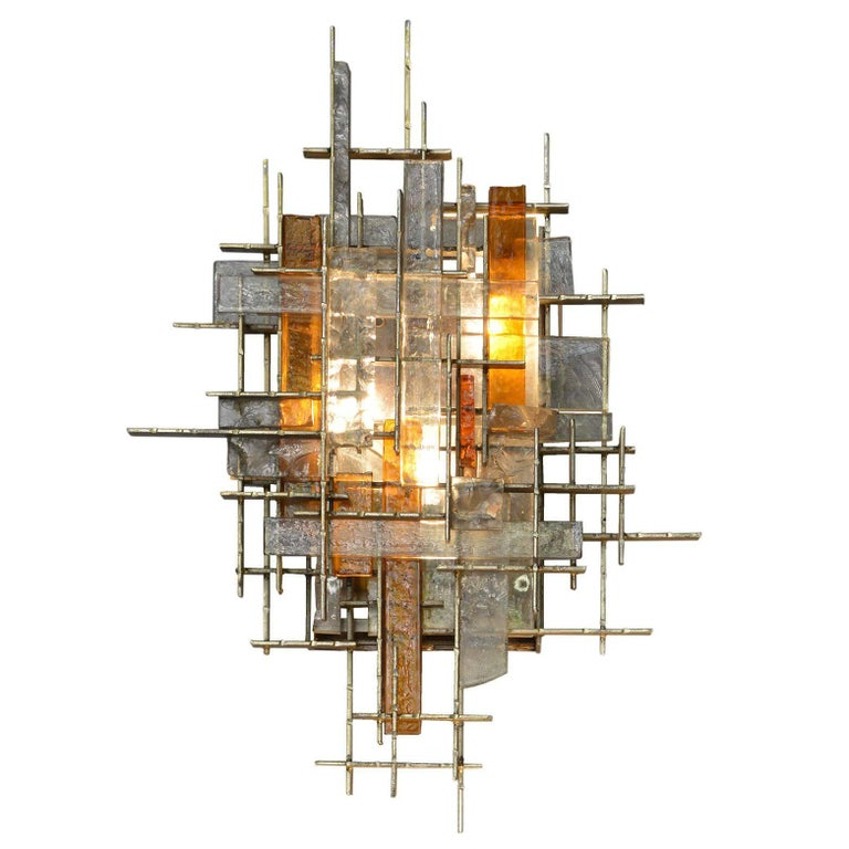 Glass and Gilt Metal Sconce by Poliarte, Italy, 1970s