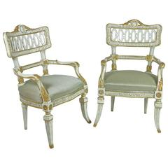 Pair of Italian 18th Century Painted and Parcel Gilt Carved Fauteuils