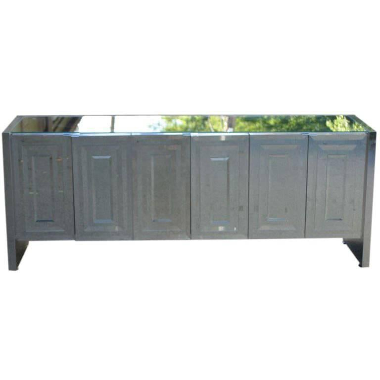1970s Ello Mirrored Credenza with Polished Stainless Clad Sides