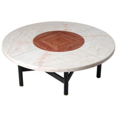 Jan Vlug Rare Large Coffee Table with Round Marble Top
