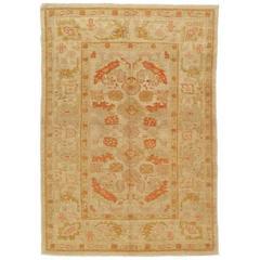 Turkish Oushak Carpet, Handmade Turkish Oriental Rug, Beige, Taupe, Coral
