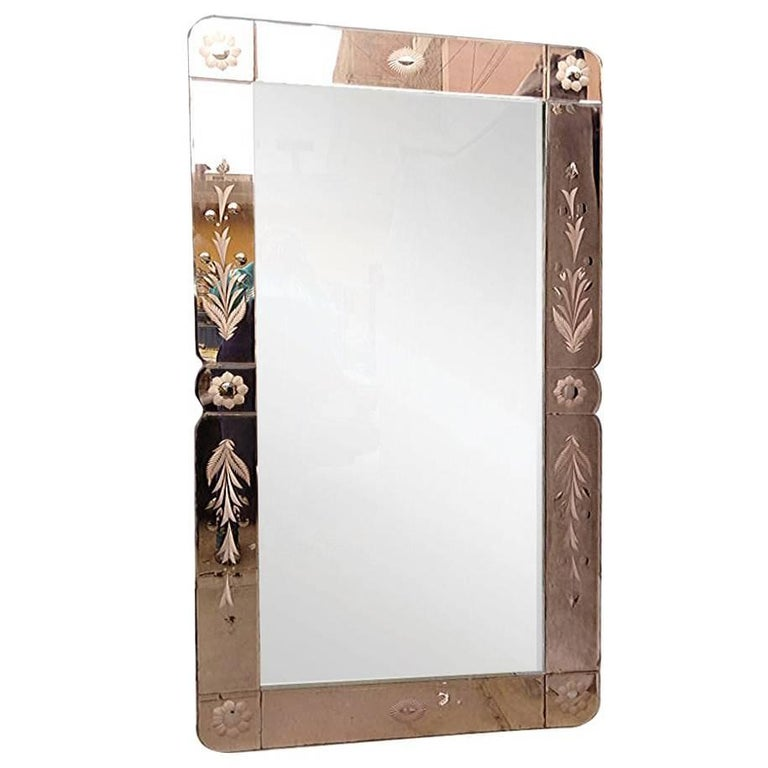 Large French Rose Colored Etched Mirror