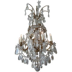 French Crystal and Glass Marie Therese Chandelier with Three Tiers and 12 Lights