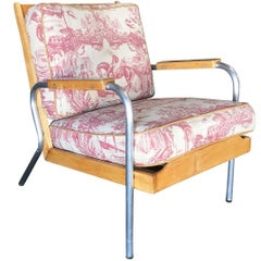 Mid-Century Francois Caruelle Style Blonde Hardwood and Chrome Leg Lounge Chair