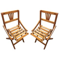 George Nelson Inspired Child Size Folding Slat Wood Chair, Set of Two