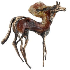 Handblown Glass and Bronze Horse Sculpture by Lune