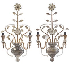Pair of Silver Gilt and Cut Glass 'Vase of Flowers' Banci, Florence, circa 1950