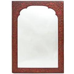Spanish Arabesque Embossed Leather Framed Mirror, circa 1890