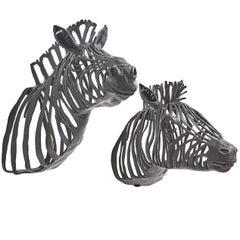 Pair of Paula Swinnen Bronze Wall Mounted Zebra Heads, Belgium 2018
