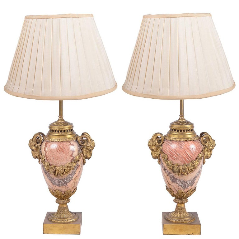 Pair of Louis XVI Marble and Ormolu Vases / Lamps