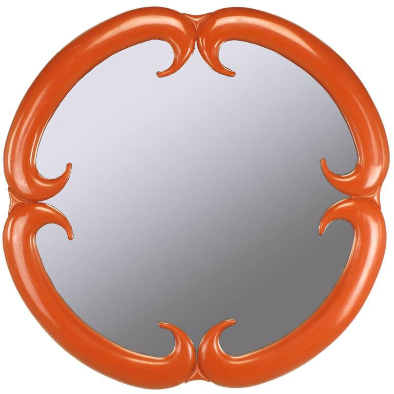 Baker Furniture Cinnabar Red Quatrefoil Mirror For Sale