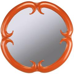 Baker Furniture Cinnabar Red Quatrefoil Mirror