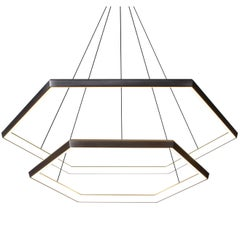 HEXIA CASCADE HXC46 - Black Hexagon Modern LED Chandelier Light Fixture