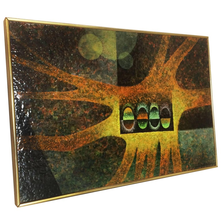 Midcentury Abstract Oil on Board Painting by Van Gelderen