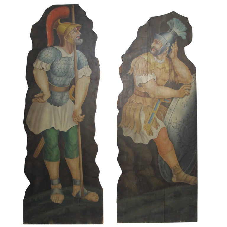 Opera or Theatre Hand-Painted on Wood Dummy Boards, 19th Century For Sale