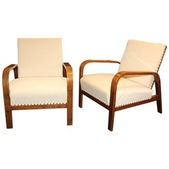 Pair of Early 20th Century Cherrywood Reclining Open Armchairs