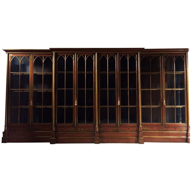 Antique Breakfront Bookcase Large Jappaned Lacquered George III, 19th Century