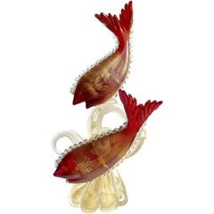 Murano Red Fish on Gold Coral Tendrils Italian Art Centrepiece Sculpture