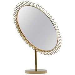 Midcentury Sculptural Brass Vanity Table Mirror Attributed to Josef Frank
