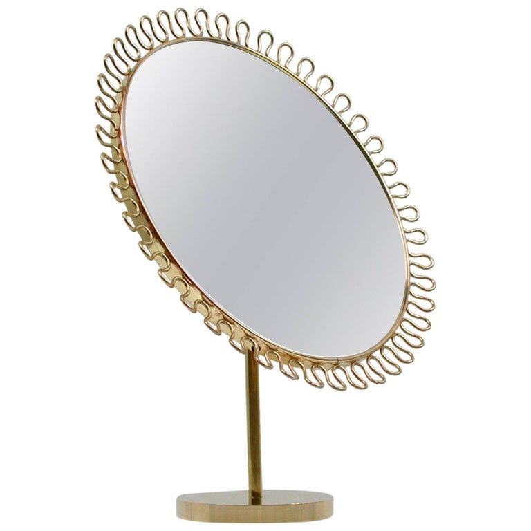 Midcentury Sculptural Brass Vanity Table Mirror Attributed to Josef Frank