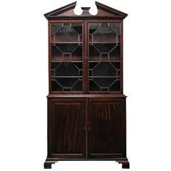 19th Century George II Mahogany Bookcase Cabinet