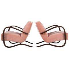 Jindrich Halabala Pink Velvet Reupholstered Armchairs