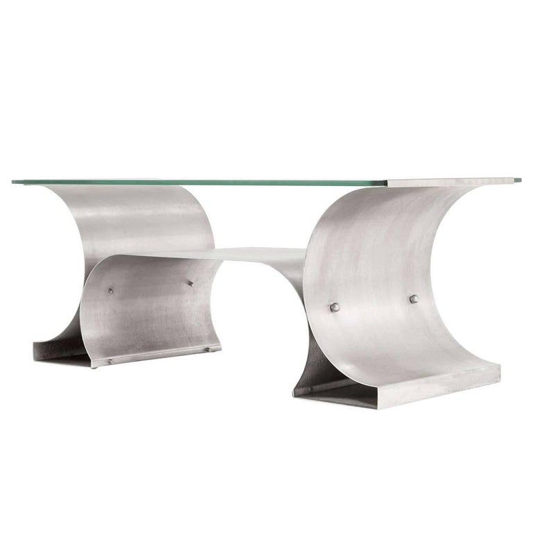Michel Boyer Stainless Steel Coffee Table from the 'X Series'