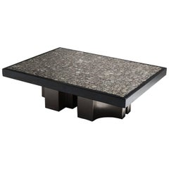 Jean Claude Dresse Signed Coffee Table with Marcasite Inlay Top