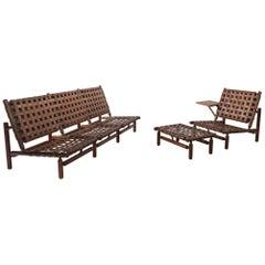 Ilmari Tapiovaara Rare Leather Strap Living Room Set
