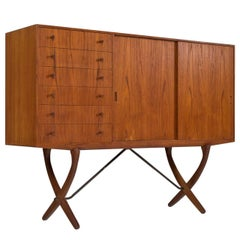 Hans Wegner Cross Legged Credenza in Teak and Oak by Carl Hansen