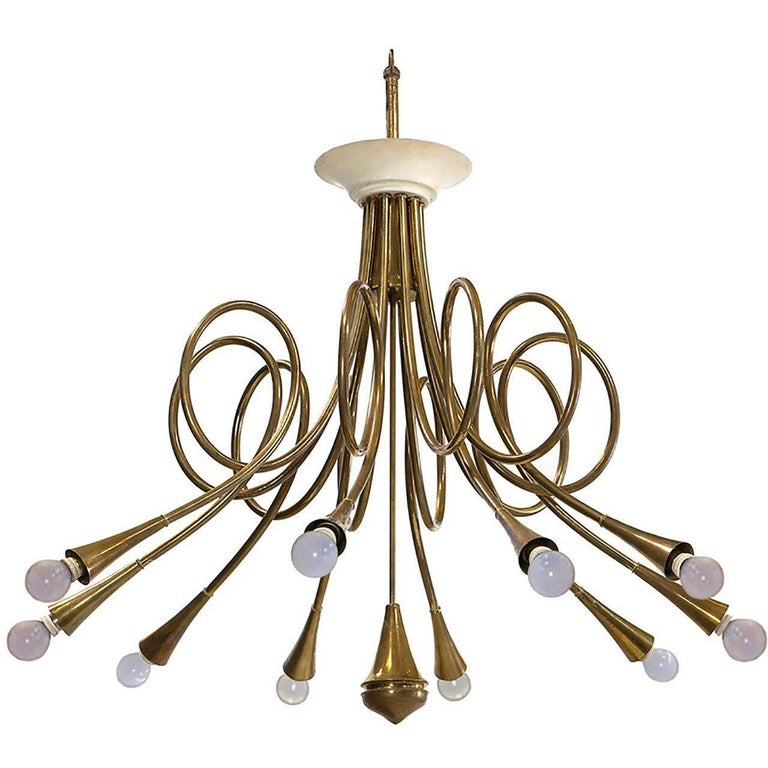 Very Rare Ceiling Lamp Oskar Torlasco Attributed by Lumi, Milano