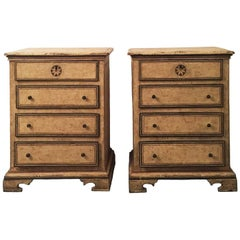 Pair of Late 17th Century Italian Louis XIV Painted Chests of Drawers