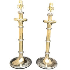 Pair of Large Brass and Nickel Candlestick Lamps in the Style of Chapman