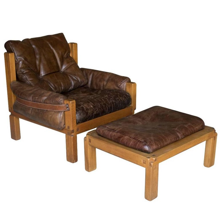 S15 Lounge Chair and Ottoman, Pierre Chapo, France, circa 1970