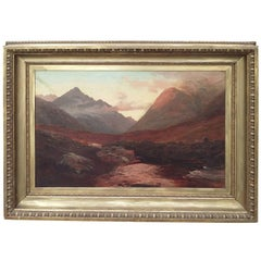19th-20th Century Mountain Sunset Landscape