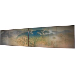 Pair of Polychrome Six Fold Japan Screens of Mist Rolling over Hills