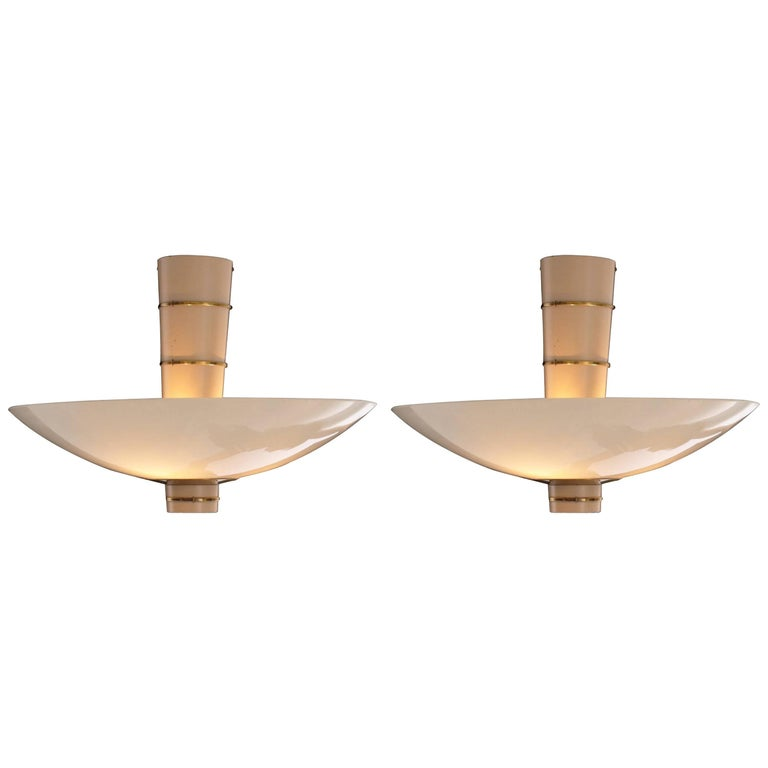 Pair of Paavo Tynell F Ceiling Lamps Model 9055 for Taito Oy, 1940