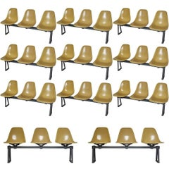 Herman Miller Eames Fiberglass Ochre Chairs on Bench Seating, 1968