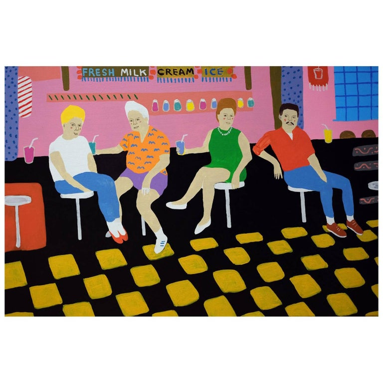 'Getting the Shakes' Portrait Painting by Alan Fears Pop Art For Sale