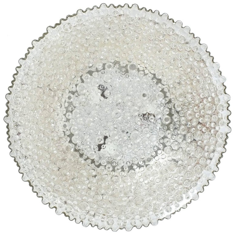 Large Staff Bubble Glass Flush Mount, Germany, 1960