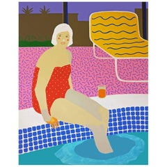 'the Plunge' Figurative Portrait Painting by Alan Fears Pop Art Pool
